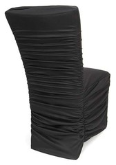 Black, Ivory, White, Ruched, Chair, Cover, Pleated, Puckered, Gathered, Rouge, Rouged, Lycra, Spandex, Scuba